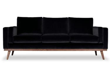 Sofa nenuphar 3-osobowa welurowa welur bawełna 100 czarny