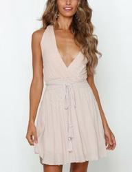 Jasnoróżowa bawełniana sukienka z chwostem