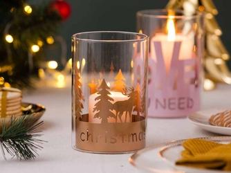 Świecznik świąteczny  lampion  dekoracja świąteczna  tea light  boże narodzenia altom design merry xmas renifer 10x15 cm