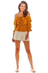 Kamelowa krótka bluzka hiszpanka