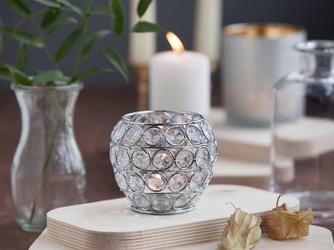 Świecznik ozdobny kula z kryształkami na tealight  podgrzewacze altom design 8,5 cm