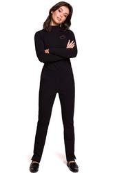 Czarne dzianinowe spodnie na gumie z rozciętymi nogawkami