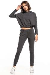 Krótka bluza z dekoracyjną taśmą - ciemnoszara