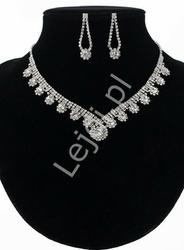 Komplet biżuterii wieczorowej z cyrkonii, kolia i kolczyki