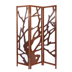 Parawan drewniany 3-skrzydłowy brązowy, motyw drzewa