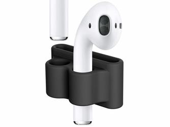 Uchwyt silikonowy zaczep strap do Apple Airpods Czarny - Czarny