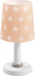 Lampka nocna różowa w gwiazdki stojąca na szafkę