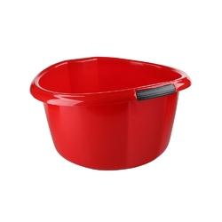 Miska na pranie  łazienkowa z uchwytami plastikowa okrągła solidna bentom czerwona 15 l