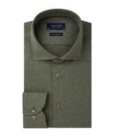 Elegancka zielona koszula męska z dzianiny slim fit 46