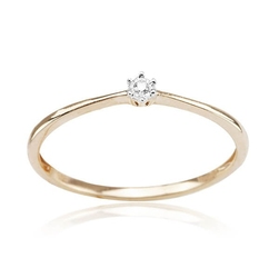 Staviori pierścionek. 1 diament, szlif brylantowy, masa 0,01 ct., barwa i-j, czystość i1. żółte złoto 0,585.