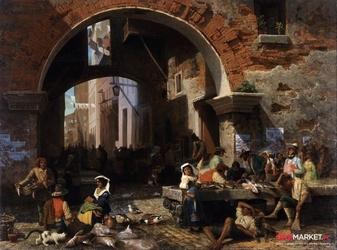 targ rybny -  albert bierstadt ; obraz - reprodukcja