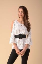 elegancka bluzka z rozcięciem na rękawach kropki