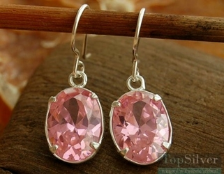 Blanca - srebrne kolczyki z różowym kryształem