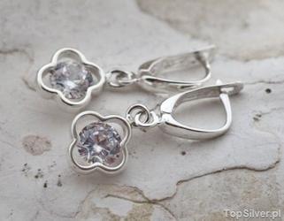 Sakura - srebrne kolczyki z cyrkoniami crystal