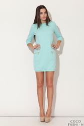 Zielona Mini sukienka z Rękawem 34 i Kieszeniami