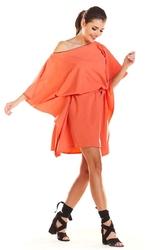 Kimonowa Koralowa Sukienka z Paskiem