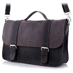 Skórzana torba męska brodrene bl11 ciemnobrązowo-czarna - c. brązowy
