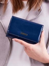 Skórzany portfel damski niebieski lorenti 76112 - granatowy