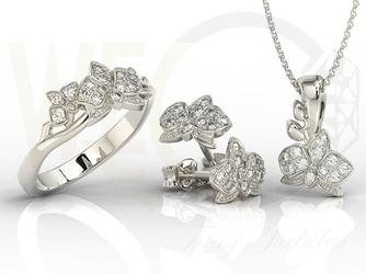 Zestaw - pierścionek, kolczyki i wisiorek z białego złota z brylantami bp-45b-zest
