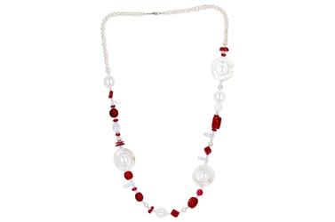 Modny długi naszyjnik koral perły masa perłowa kryształ 90cm