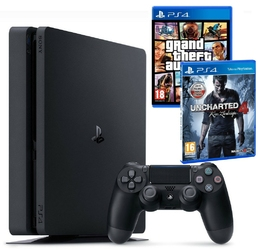 Konsola sony ps4 slim 1tb + gta v + uncharted 4