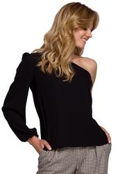 Czarna wizytowa bluzka na jedno ramię