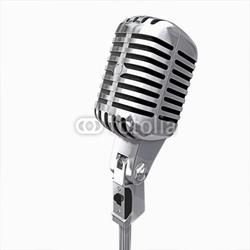 Tapeta ścienna stary mikrofon na białym tle