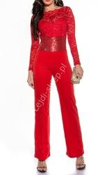 Czerwony kombinezon wieczorowy z cekinami i koronką, szerokie nogawki