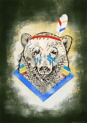 Miś indianin - plakat wymiar do wyboru: 20x30 cm