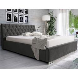 Klasyczne łóżko tapicerowane do sypialni sommen z pikowanym w karo zagłówkiem