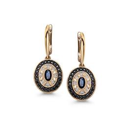 Staviori Kolczyki. 16 Diamentów, szlif achtkant, masa 0,05 ct., barwa H, czystość SI1-I1. 50 Szafirów, masa 1,28 ct.. Żółte Złoto 0,585. Długość 30 mm.