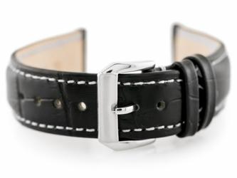 Pasek skórzany do zegarka w64 - czarnybiały 18mm