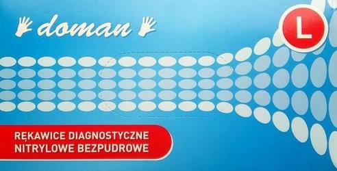 Doman, nitrylowe rękawice, niebieskie, large, 100 sztuk