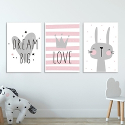 Zestaw plakatów dziecięcych - lovely rabbit , wymiary - 70cm x 100cm 3 sztuki, kolor ramki - biały