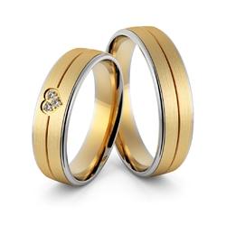 Obrączki ślubne dwukolorowe z sercem i brylantami - au-964