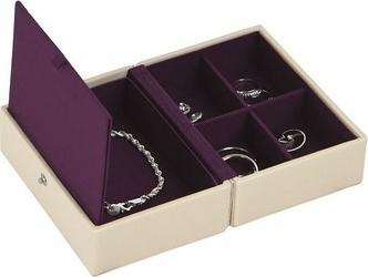 Pudełko na biżuterię podróżne Travel Box Stackers kremowo-fioletowe