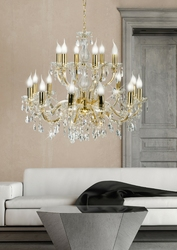 Żyrandol bardzo duży na 18 żarówek, złoty, kryształy maria teresa candellux 30-94615