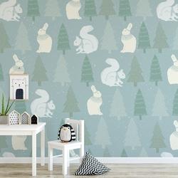 Tapeta dziecięca - forest rabbit , rodzaj - tapeta flizelinowa laminowana