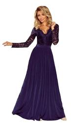 Granatowa szykowna długa sukienka wieczorowa z koronką