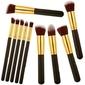 Zestaw 10 pędzli do makijażu profesjonalne złoto czarne