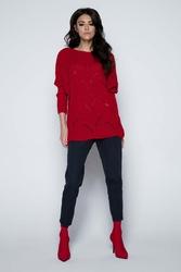 Czerwony Sweter Lekki Ażurowy Nietoperz