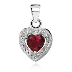 Srebrna zawieszka pr.925 serce z czerwoną cyrkonią