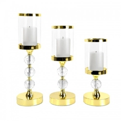 Lampion świecznik latarenka szklany komplet złote