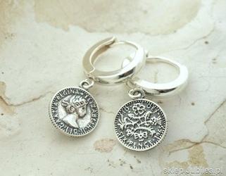 Moneta - srebrne kolczyki na zapięciu angielskim