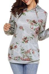Szara bluza damska w kwiaty 0428