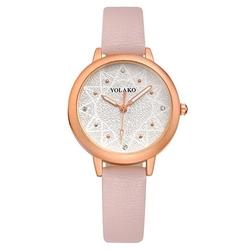 Zegarek damski złoty skórzany pasek różowy - różowy