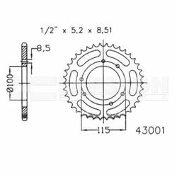 Zębatka tylna stalowa JT 50-43001-46, 46Z, rozmiar 420 2302361 Gilera GSM 50