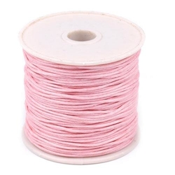 Woskowany sznurek bawełniany 1mm20m - różowy - RÓŻ