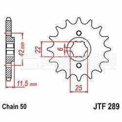 Zębatka przednia JT F289-16, 16Z, rozmiar 530 2200108 Honda FT 500