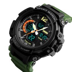 Zegarek MĘSKI SPORTOWY LED SKMEI 1343 army green - army green